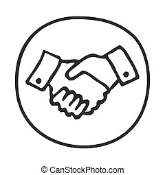 People shaking hands line drawing. An image of a people