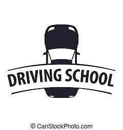 Driving license school vector logo, sign, emblem. steering