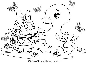 Black and white easter bunny coloring page.