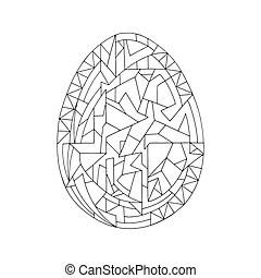 Easter egg. coloring book for kids. hand drawn. Easter egg