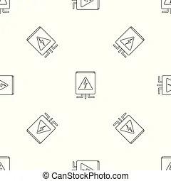 Circuit breakers box icon. orange background with black