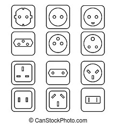 Monochrome color contour home industrial power socket