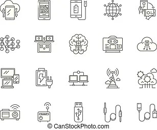 Electric and electronic icons, electric diagram symbols
