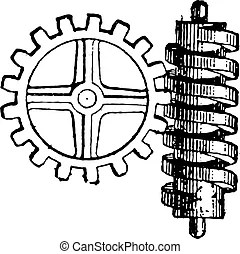 Archimedes screw vintage engraving. old engraved