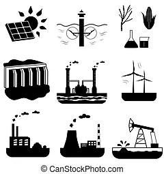 Energy sources vector infographics. Renewable energy