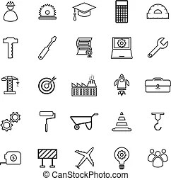 Line engineering icons. Simple set of engineering flat
