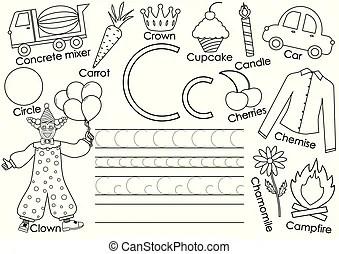 English alphabet with animals. vector illustration