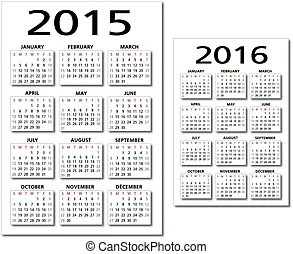 Calendar 2015, 2016. Calendar for 2015, 2016. red and