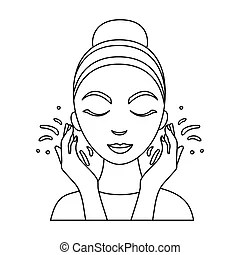 Face care icon in outline style isolated on white