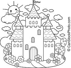 Castle coloring page. Winter castle for snow queen