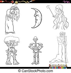 Fairy tale hunter coloring page. Black and white cartoon