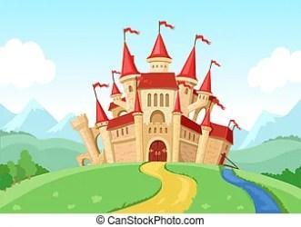 Fairytale landscape with castle fantasy palace tower fantastic fairy house or magic castles kingdom cartoon vector CanStock