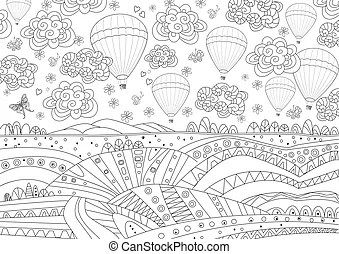 Hot air balloons lavender landscape magic book pages. Hot
