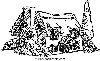 Cartoon house in a cut. vector illustration clipart vector