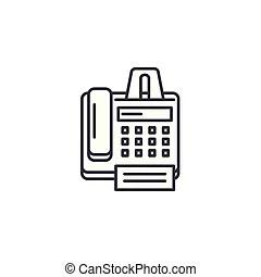 Fax machine line icon. Fax machine thick line icon with