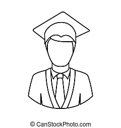 Graduation man and women education icon set. Man and woman