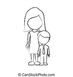 Pregnant mother with her daughter cartoons vector