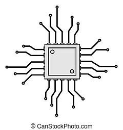 Circuit board cpu, vector illustration.