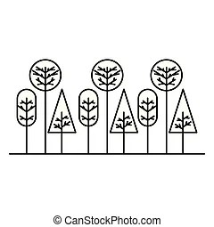 Linear flat vector trees. nature forest design icons with