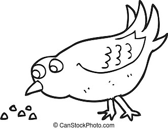 Black and white cartoon bird pecking seeds Clip Art Vector