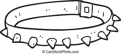 Simple black and white dog collar cartoon.