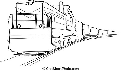 Freight train. Assorted common north american freight cars