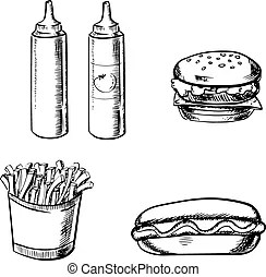 Hot dog with condiments sketch. Doodle style hot dog with