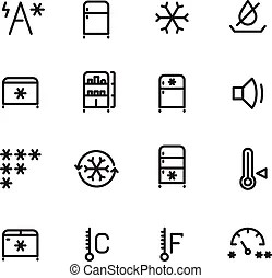 Set of freezer icons.