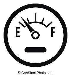 Fuel gauge in tank of car icon. from full to empty digital