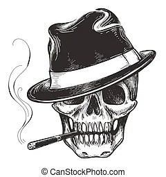 Skull With Smoke Tattoo Designs