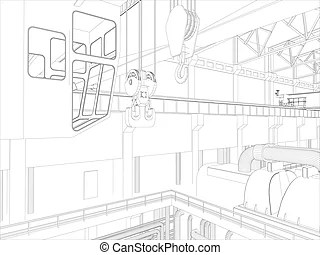 Gantry crane in a factory environment. wire-frame. vector
