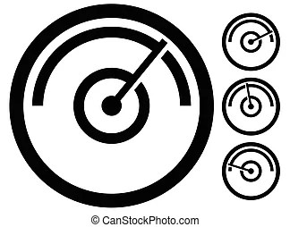 Speedometer gauge stages vector. Speed, power and / or