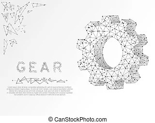 Gears. vector poligonal wireframe gear 3d illustration on