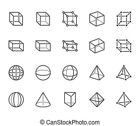 Cube sphere cone octahedron cylinder figures set. Cube