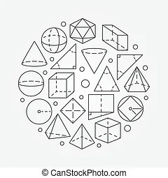 Geometry, mathematics and perspective wireframe symbols