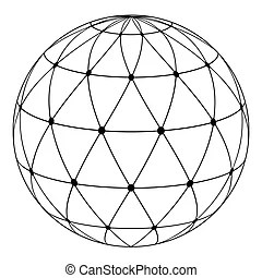 Atom symbol with a globe in the middle.