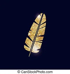 gold feather clipart vector graphics