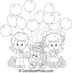 Grade school girl coloring page. Black and white cartoon