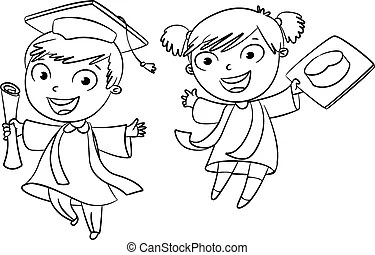 Diploma graduating cute student girl Clipart Vector and