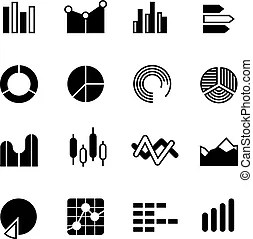Data bar graphic and statistics charts vector icons