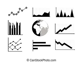 Infographic charts or graphs icons. Charts or graphs icons