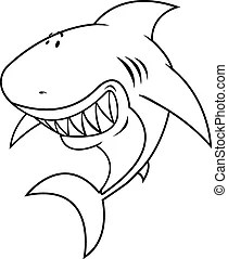 Outlined happy shark cartoon character.