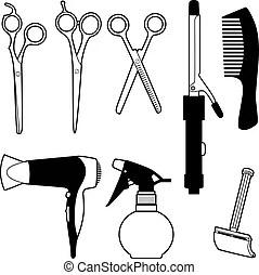 Barber scissors composition. Black and white barber