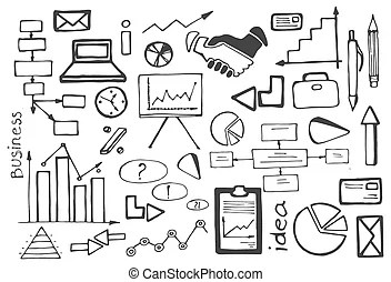 Internet business doodle vector set. Internet business