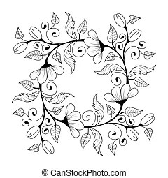 Hand drawn zentangle background for coloring page. Vector