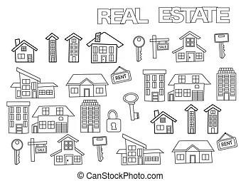 Real estate presentation hand drawn outline doodle icon