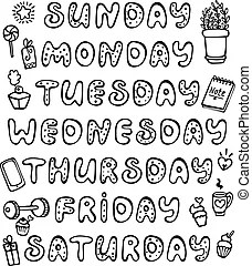 Handwritten names of the days of the week. sunday, monday