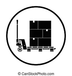 Manual forklift pallet stacker icon in isometric 3d style