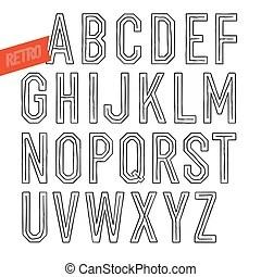 Handmade retro outline white font. black letters on white