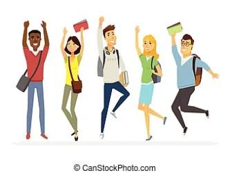 cartoon students happy estudiantes characters student senior jumping studenti dibujos vector animados secundaria felices springende isolated felici female clipart clip